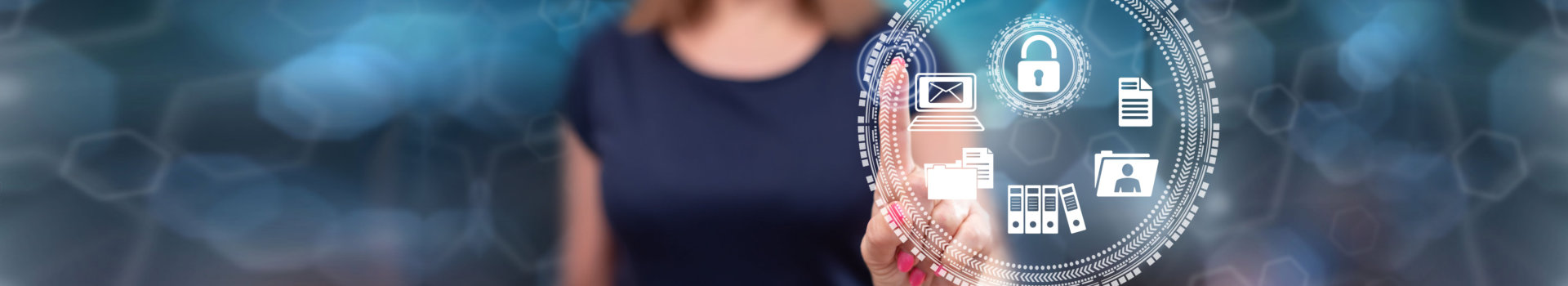 Woman touching a data protection concept on a touch screen with her finger