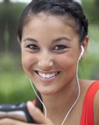 single woman smiling